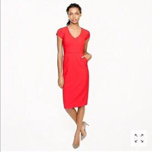 NWT-J-Crew-Womens-Red-Director-Dress-Stretch-Wool-V-Neck-Cap-Sleeve-Dress-Size-8