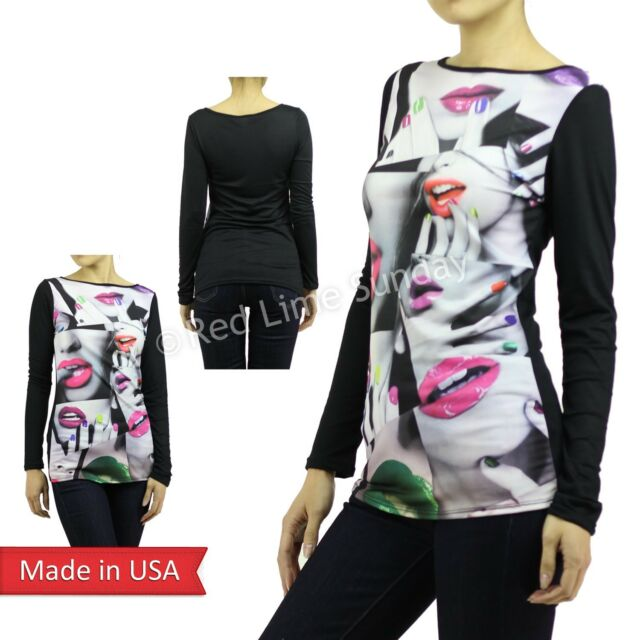 USA Sexy Celebrity Neon Vivid Lips Faces Sweater Long Sleeve Tunic Shirt Top