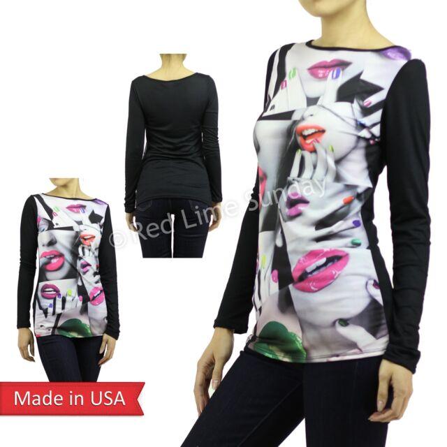 USA Sexy Celebrity Neon Vivid Lips Faces Sweater Long Sleeve Tunic Shirt Top
