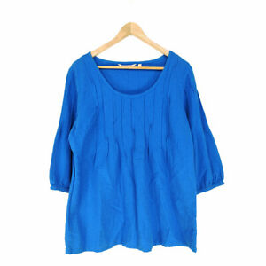 Soft Surroundings Tunic Top Blouse Blue M Petite 3/4 Sleeve Cotton Round Neck