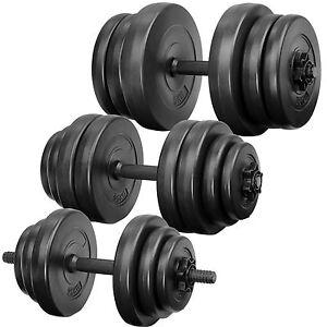 Lot d'haltères courtes poids barres disques fitness musculation biceps sport