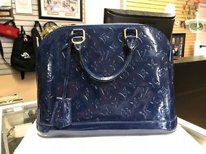 92c40d2b1c09 Louis Vuitton Alma PM Vernis Grand Bleu Blue Patent Leather Bag ...