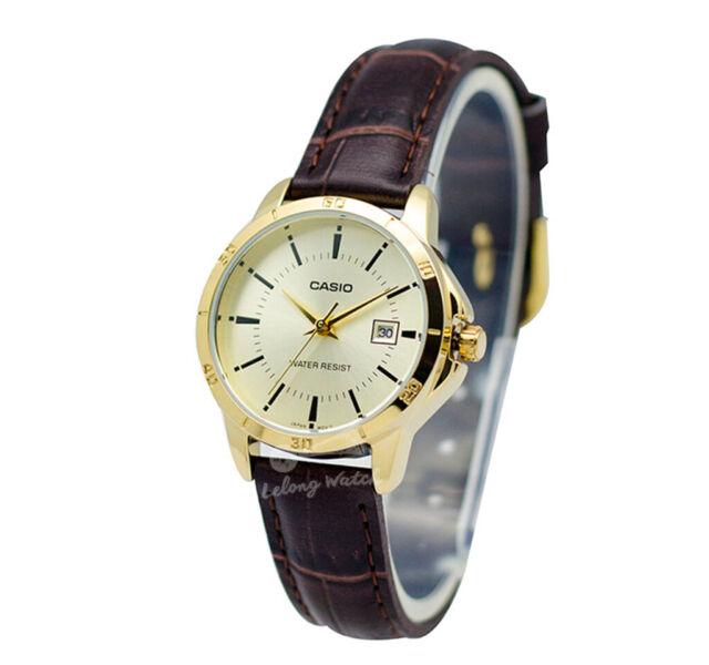 -Casio LTPV004GL-9A Ladies' Leather Fashion Watch Brand New & 100% Authentic