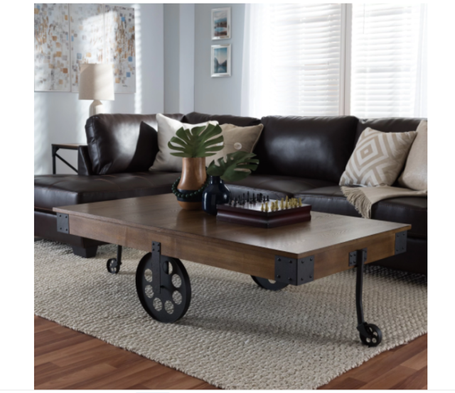 Farmhouse Coffee Table With Wheels Rustic Wood Metal Retro Design