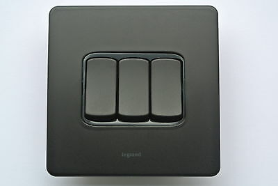 legrand Synergy 7355 21 Grid Module 20AX switch DP Power Light Unmarked Black