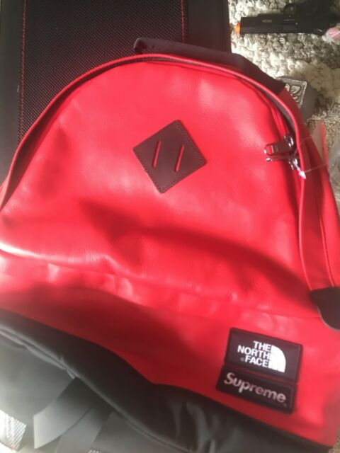 Supreme X The North Face TNF Leather Day Backpack Red Fw17 100