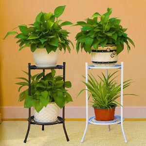 Metal-Shelves-Flower-Pot-Holder-2-TIER-Plant-Stand-Display-Indoor-Outdoor-Garden