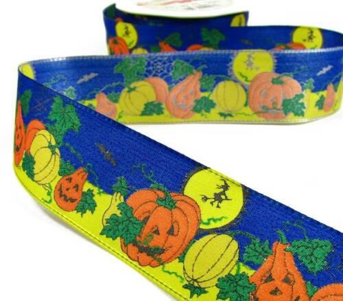 "5 Yd Halloween Germany Night Sky Pumpkins Wired Ribbon 1 1//2/""W"