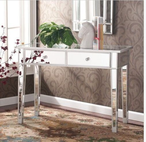 Mirrored Console Table Glam Vanity Mirror Silver Accent Decor Furniture 2  Drawer | EBay