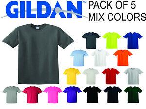 GILDAN-MENS-PLAIN-T-SHIRT-PACK-OF-5-MIX-COLORS-CHOOSE-SIZE-USA-FREE-SHIPPING