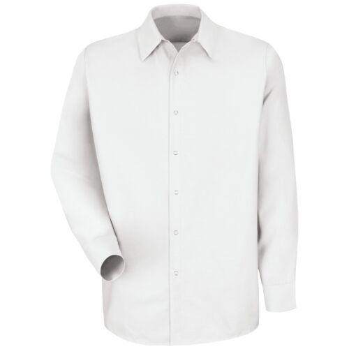 Red Kap Men/'s Long Sleeve Pocketless Industrial Work Shirt White