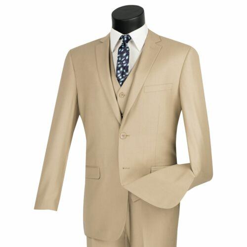 VINCI Men/'s Beige 3 Piece 2 Button Slim Fit Suit w// Matching Vest NEW