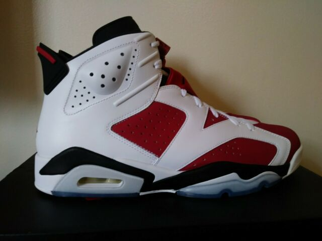 free shipping 5c092 74dd3 Nike Air Jordan Retro 6 Carmine 2014 White Black Red 384664-160 Size 12