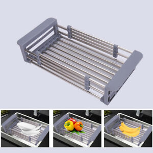 Pro-Stainless-Steel-Dish-Drying-Rack-Telescopic-Filter-Kitchen-Sink-Adjustable
