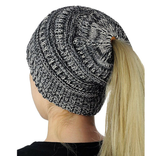 Girl Women Beanietail Messy Bun Ponytail Knitted Beanie Skull Winter Hat Lot #L5