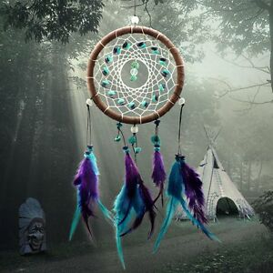Dream-Catcher-Handmade-Feathers-Wall-Car-Hanging-Decor-Turquoise-Beads-Ornament