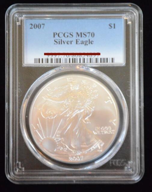 2007 PCGS MS70 Silver AMERICAN EAGLE Walking Liberty - Beautiful