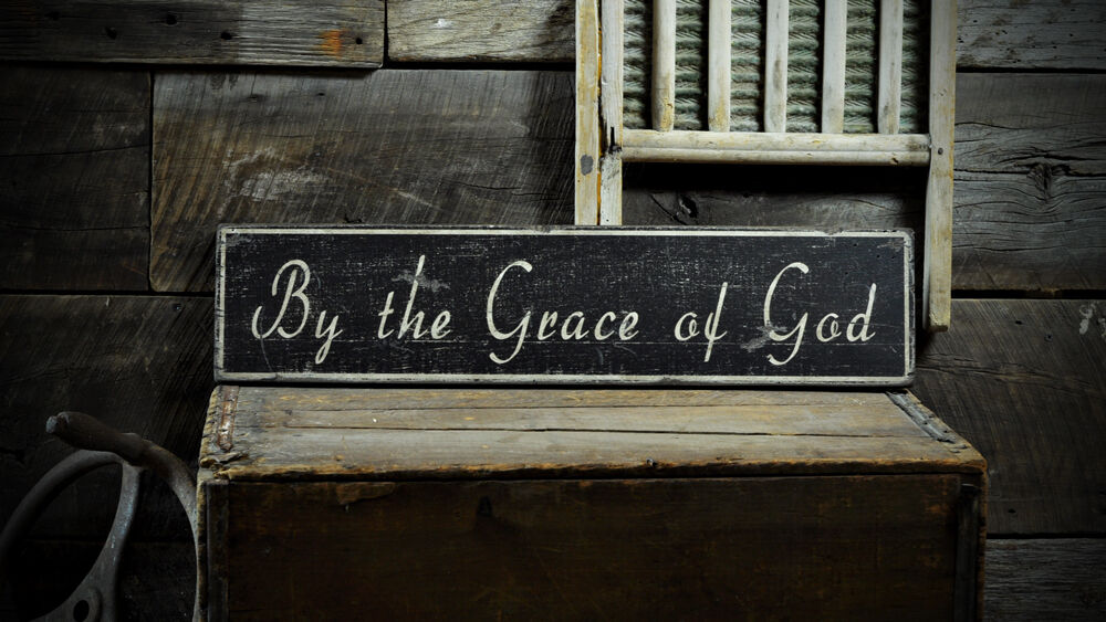 By The Grace Of God Sign - Rustic Hand Made Vintage Wooden ENS1000720