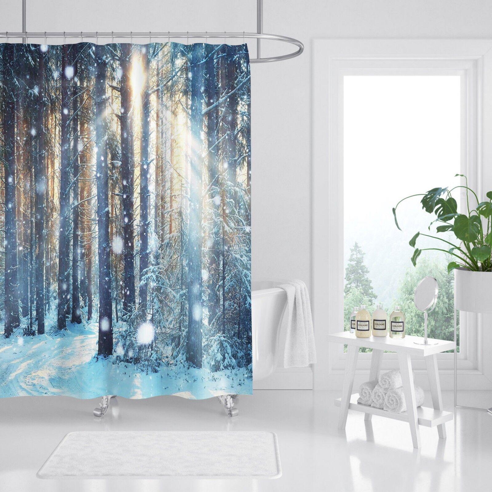 3D Forêt de neige 5352 Rideau de Douche Imperméable Fibre Salle de Bain Home Windows Toilette