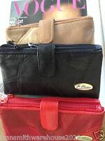 Ladies soft leather purse wallet by Je t'adore patchwork design double zip 4849