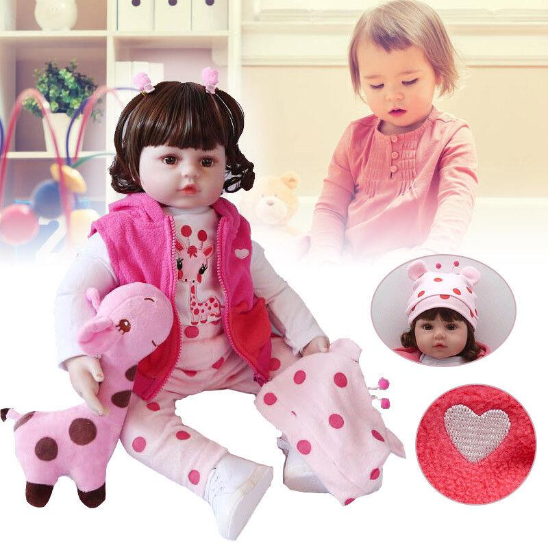 Lebensecht Silikon Reborn Baby Puppe Spielzeug für Kind Mädchen Geschenk 46CM