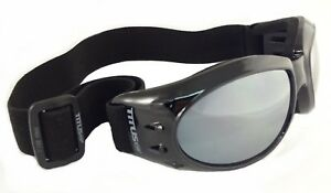 TITUS MIRRORED MOTORCYCLE RIDING GOGGLES SUNGLASSES W/ STRAP PADDED AVIATORS SKI