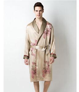 73b07c5289 Men s 19MM 100% Mulberry Silk Robe Embroidery Silk Sleepwear ...