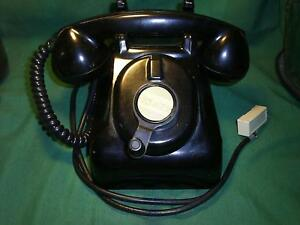 Antique-Black-Bakelite-Crank-Ringer-Heavy-Desk-Telephone-Vintage-Hotel-Phone-NR