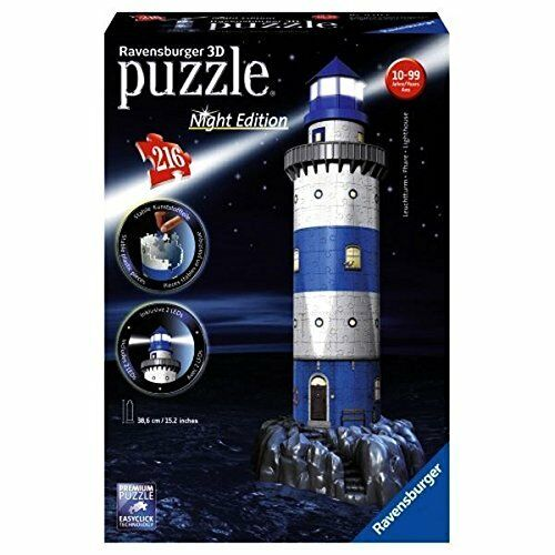 Ravensburger 12577 -Night Edition  The Lighthouse -Puzzle 3D, 216 pieces