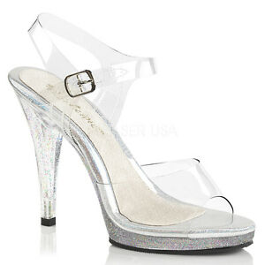 56782b1797c Details about FABULICIOUS FLAIR-408mg Clear Glitter Ankle Strap Mini-Platform  Sandals