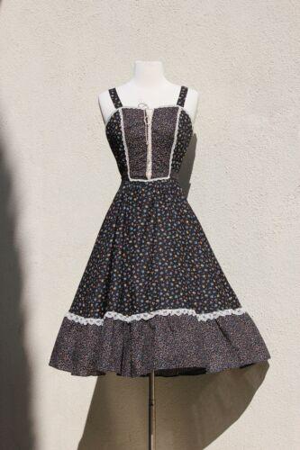 vintage 1970s gunne sax style dress black floral c