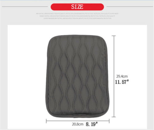 Gray PU Leather Car Center Console Armrest Cover Protector Pad Cushion For Rest
