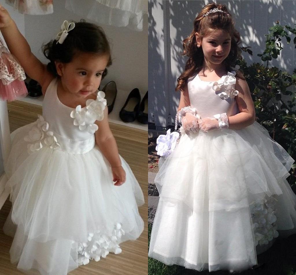 White/ivory Flower Girl Dress Princess Party Tulle Floor Length Kids Ball Gowns