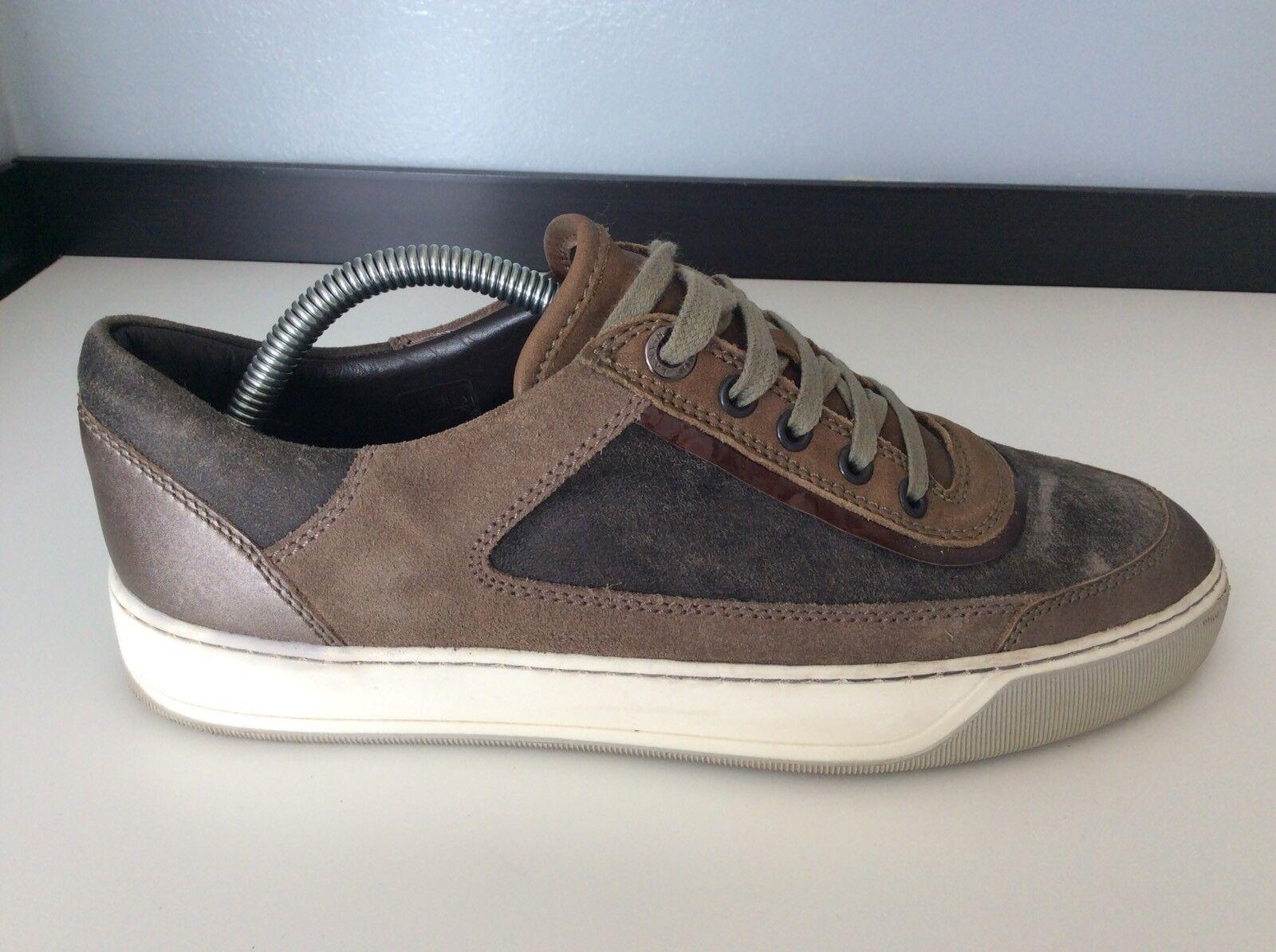 Lanvin Para hombre Zapatillas, Zapatillas, Reino Unido 6 Eu40, marrón gamuza cuero, en muy buena condición