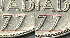 CANADA Lot of 2 x 5 CENTS 1977 -High 7 & Low 7 -Both varieties circulated