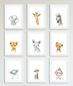 Aquarelle-Baby-Safari-Animal-Prints-Mignon-Nursery-Chambre-Art-Enfants-Unisexe
