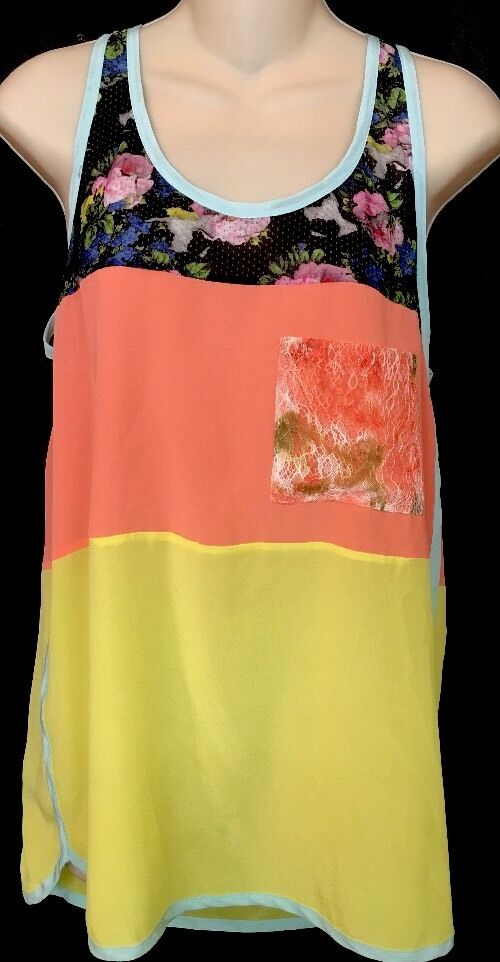 MSGM Top MulticolGoldt Floral Tank Style Nwt