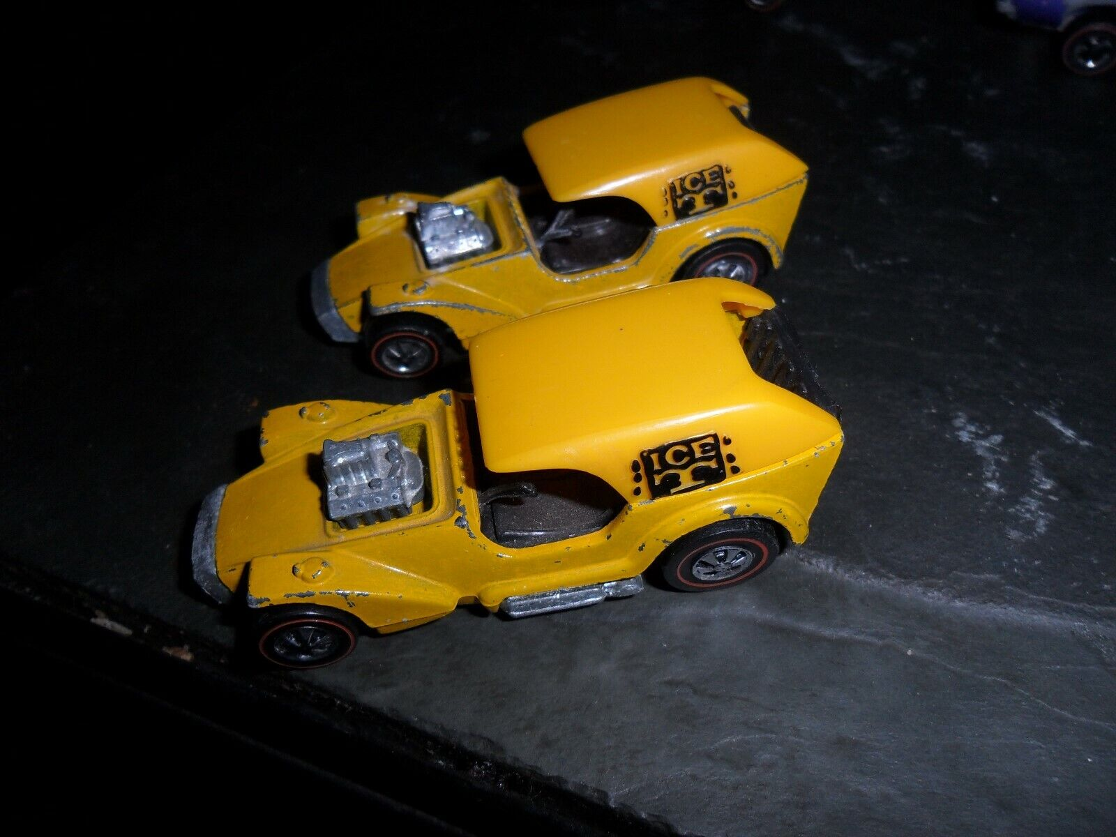 2  LOT 1970 HOT WHEELS YELLOW TOP REDLINE ICE T CARS HONG KONG