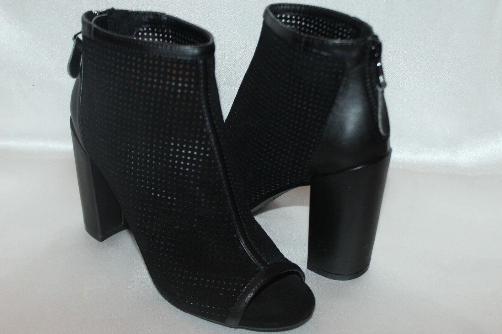 NEW NIB STEVE MADDEN Black Perf Suede FREYAA Peep Back Zip Ankle Bootie 7 8 9