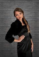 Wedding Black Faux Fur Shrug Bridal Bolero Jacket Coat S M L Xl