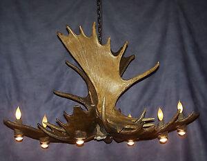 POOL/DINING MOOSE ANTLER CHANDELIER LAMPS BY CDN, RUSTIC DEER LODGE LIGHTING