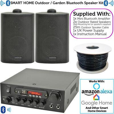 Outdoor Bluetooth Speaker Kit Karaoke/stereo Amp Garden Bbq Parties 2x Black