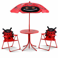 Item 2 Kids Patio Set Table And Folding Chairs W Umbrella Beetle Outdoor Garden Yard