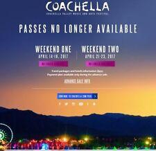 2017 COACHELLA Weekend 1 April 14-16 (1) GA Pass + (1) Car Camping!