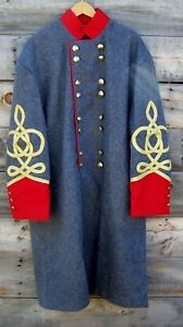 civil war confederate officers double breasted wool frock coat 4 row braids  48