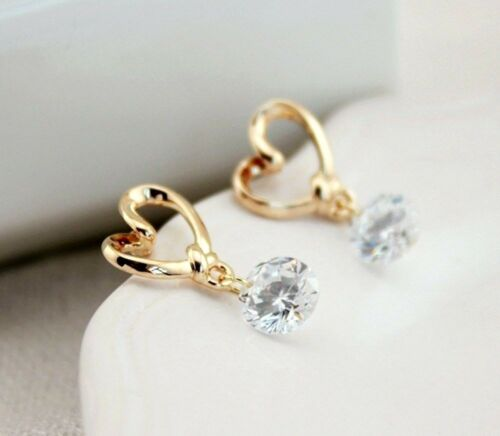 Lindo Corazón Diamante Cristal Pendientes Colgantes de Gota de Oro