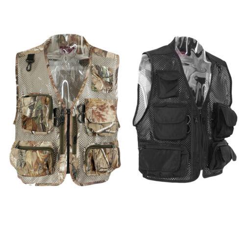 Men/'s Multi-Pocket Mesh Vest Waistcoat Fishing Travel Hiking Outdoor Sports