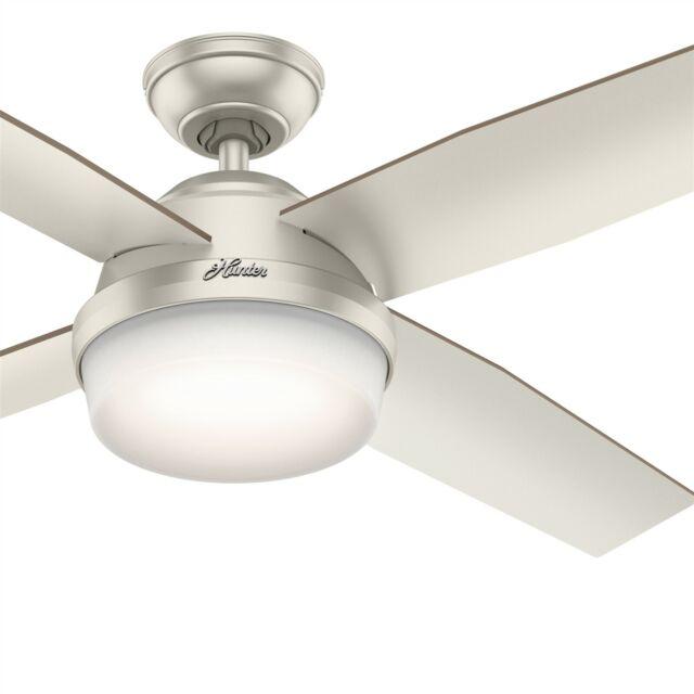Hunter Fan 52 Inch Contemporary Matte Nickel Ceiling Fan With Led Light Kit For Sale Online Ebay