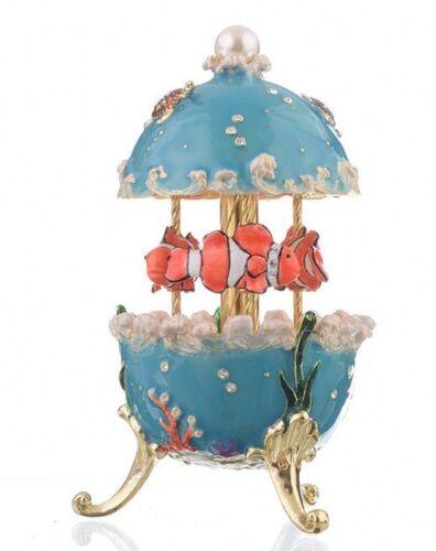 Blue Faberge Fish music box Carousel Trinket Box by Keren Kopal  with crystal