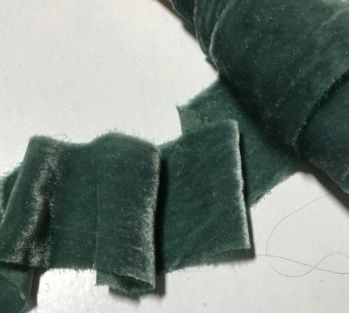 Hand Dyed Gray Green Silk Velvet Ribbon 4 Widths to choose from